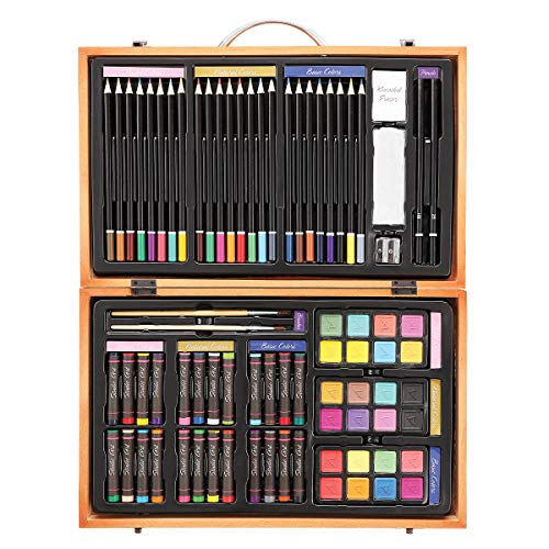 Darice 80-Piece Deluxe Art Set – Art Supplies for Drawing, Painting and More in a Compact, Portable Case - Makes a Great Gift for Beginner and Serious Artists