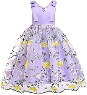 ガールズウェディングドレス 子供服2019女の子プリンセスドレスメッシュ子供スカートクリスマス子供服 誕生日イブニングボールガウン (色 : 紫の, サイズ : 120cm)