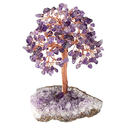 TUMBEELLUWA Natural Crystal Chips Money Tree for Good Luck and Wealth Handmade Stones Figurine Bonsai Tree with Natural Amethyst Cluster Base, Amethyst