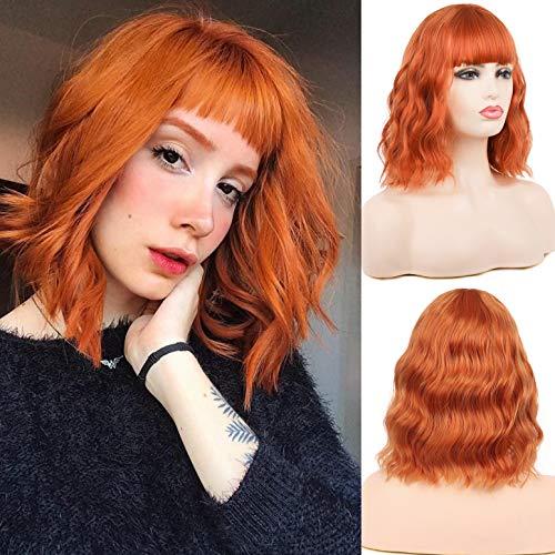 Peluca corta naranja Bob rizos pelo ondulado flequillo sintético pelucas para mujeres niñas Cosplay fiesta personalizada de Halloween