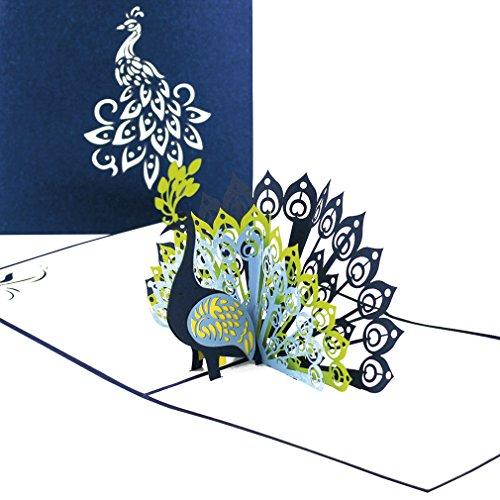 """Pop Up Karte """"Pfau – Pfauenfedern"""" - Geburtstagskarte & Hochzeitskarte - edle Pfauen Glückwunschkarte, 3D Karten zu Hochzeit & Geburtstag - Einladungskarten mit Umschlag"""
