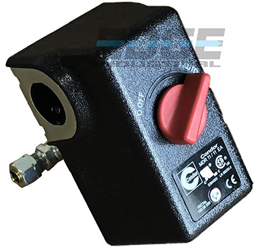 "HEAVY DUTY CONDOR USA PRESSURE SWITCH, 26AMP, 11GA2E, 100/125 PSI,1/4"" FNPT,DPST, SINGLE PORT"