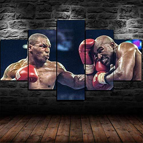 GIRDSS Moderne Wandbilder XXL Wohnzimmer Wohnkultur 5 Teilige Leinwandbilder XXL Wanddeko Malerei Gerahmte Mike Tyson Boxen Weltmeister Im Schwergewicht Kreatives Geschenk Poster
