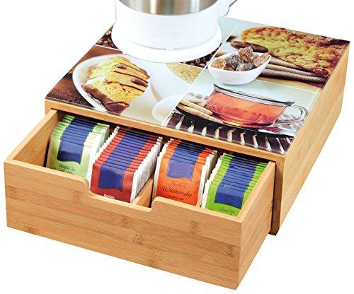 Teebox aus Holz,  mit Schublade