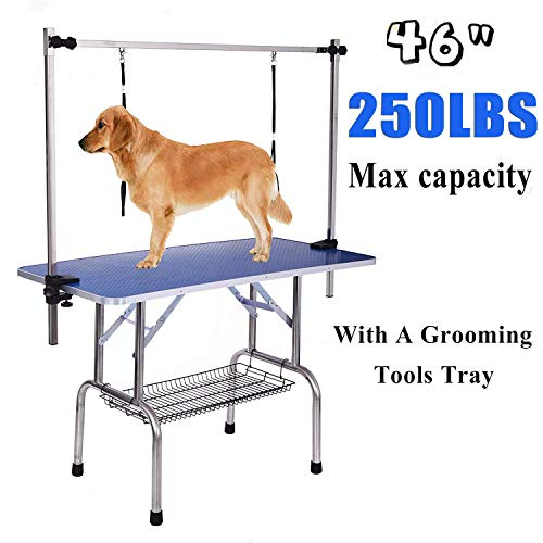 Gelinzon Pet Grooming Table for Large Dogs - Adjustable Height Folable Portable Trimming Stand Drying Table w/Arm/Noose/Mesh Tray, Maximum Capacity Up to 330 LB
