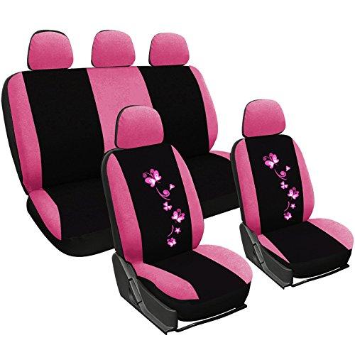 WOLTU Set Completo di Coprisedili per Auto Macchina Seat Cover Universali Protezione per Sedile di Poliestere con Ricamo Farfalle Nero+Rosa AS7252