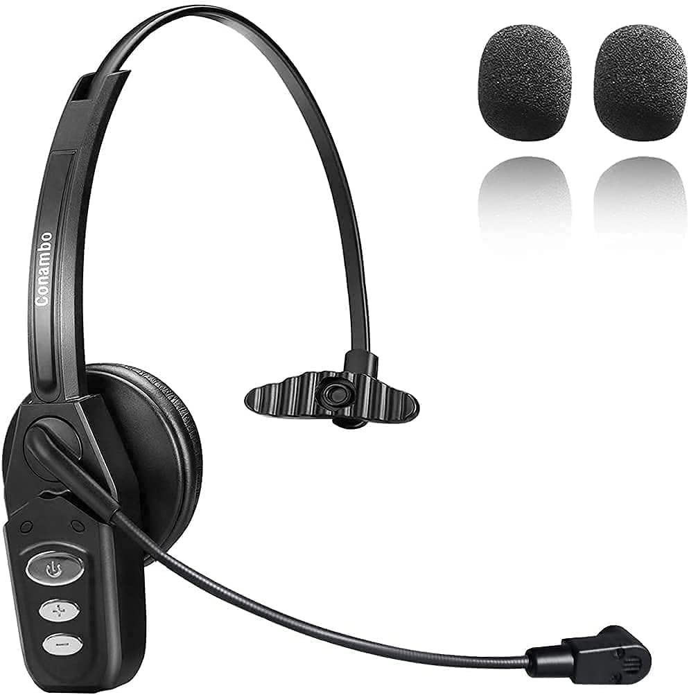 Bluetooth Headset V5.0, Pro Wireless Headset 16Hrs Talktime with Noise Cancelling Mic for Cell Phone iPhone Trucker Engineers Business Home Office -JBT800 (Black)