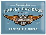 Nostalgic-Art Cartel de Chapa Retro Harley-Davidson – Logo Blue – Idea de Regalo...