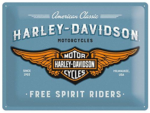 Nostalgic-Art 23244 Plaque Vintage Harley-Davidson – Logo Blue – Idée de Cadeau pour Les Fans de Moto, en métal, Design Retro pour la décoration, 30 x 40 cm