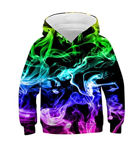 Belovecol 3D Smoke Hoodie Jungen Mädchen Bunte Kapuzenpullover Rundhalsausschnitt Pullover Langarm Sweatshirt mit Kapuze
