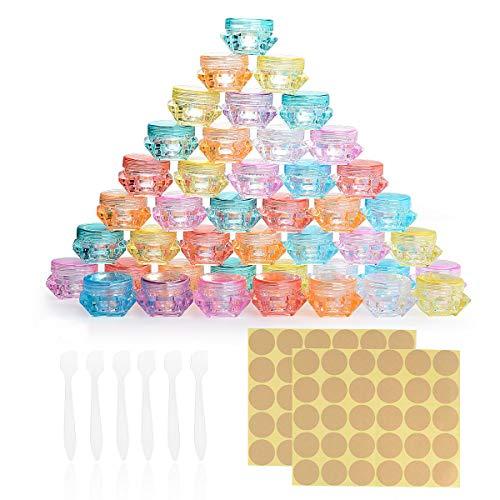 Herefun 64 Pezzi Contenitori Cosmetici Vuoti, 8 Colori Contenitore Cosmetico Plastica Vasetti Plastica, Cosmetici Viaggio per Creme, Perline, Nail Art e Campione Make-up