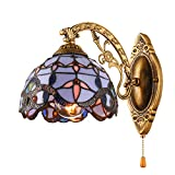 KWOKING Lighting Tiffany Style Vintage Lighting Creative Wall Sconces Lighting with Pull Chain Switch Mirror Front Wall Lamp Fixture for Corridor, Hallway, Livingroom, Bedroom Style A