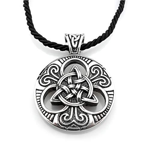 Edelstahl Wikinger Halskette Triquetra mit keltischen Knoten - Silber