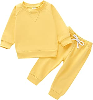 Baby Boys Girls Clothes Long Sleeve Hoodie Tops Sweatsuit Long Pants Outfit Set (Solid Yellow, 12-18 Months)