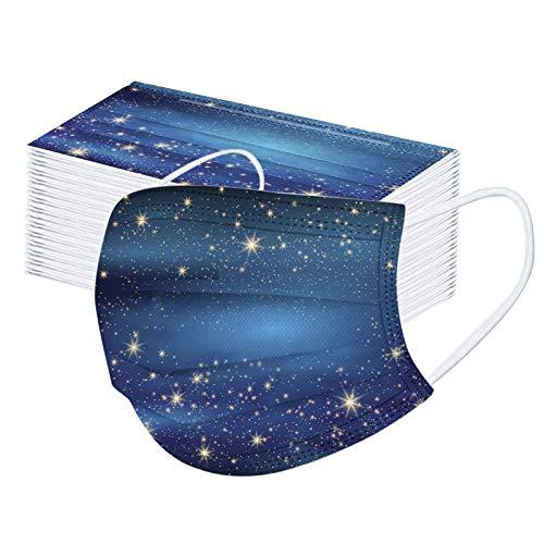 50PCS Visage Bandanas anti-poussière pour adultes et enfants, utilisation unique,conception à 3 couches, motif imprimé, tissu confortable, type de crochet d'oreille (B/50pcs)