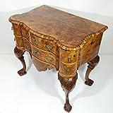 Antike feine Chippendale Kommode sogenannter Lowboy Early Victorian England 1830 – 1850 Barock Rokoko 6 Schubladen Walnuss Nussbaum furniert. Flur Wohnzimmer Arbeitszimmer Schlafzimmer