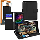 Orzly Razer Phone Wallet Case, Multi-Function Wallet Case for The Razer Phone Gaming Smartphone (2017 Android Model) - Black Protective Cover with Card Pockets & Integrated Display Stand