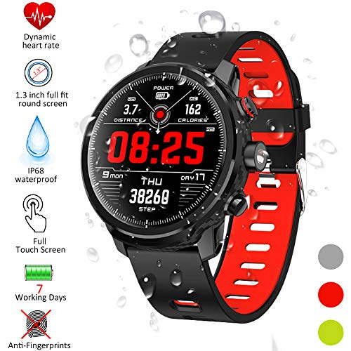 Padgene IP68 wasserdichte Sport Fitness Uhr, Smartwatch für Damen Herren Sportuhr Fitness Tracker Armbanduhr mit Blutdruck Blutsauerstoff Pulsmesser (172Rot)
