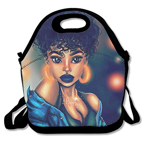 SARA NELL Neoprene Lunch Bag Afro Girl African American Girl Bling Earrings Lunch Tote Bags Lunch Backpack Lunchbox Handbag with Adjustable Shoulder Strap for Work School Outdoor Picnic