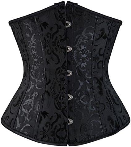 Zhitunemi Women s Lace Up Boned Jacquard Brocade Waist Training Underbust Corset 6X Large Black product image