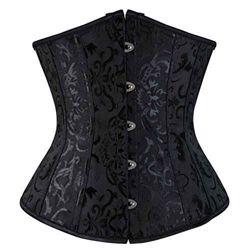 Zhitunemi Women's Lace Up Boned Jacquard Brocade Waist Training Underbust Corset Lingerie X-Large Black