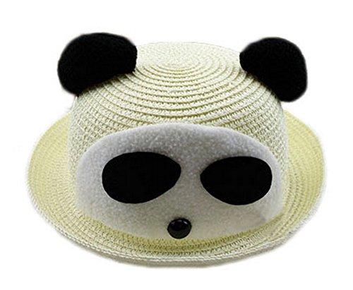 Koala Superstore Cute Panda Bambino di Sun della Paglia Cappello di Estate del Cappello della Benna del Cappello a Cilindro, Bianco Panna