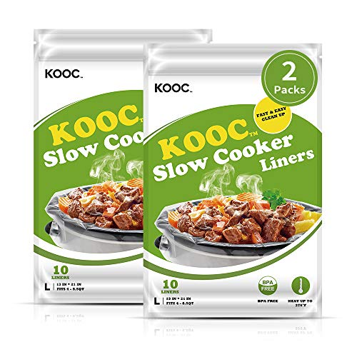 """[NEW]KOOC Premium Slow Cooker Liners and Cooking Bags, Large Size Fits 4QT to 8.5QT Crock Pot, 13""""x 21"""" , 2 Packs (20 Counts), Equipped with Fresh Locking Seal Design, Suitable for Oval & Round Pot, BPA Free"""