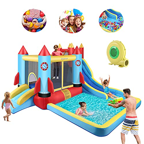 Bounce House with Blower Kids Bouncer with Slide Inflatable Slide Climbing Wall, Jumping Area, Plash...
