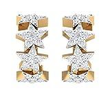 Orecchino da 0,13 carati con pavé di diamanti certificati IGI, piccolo cerchio IJ-SI con stella celeste, piercing a clip per trago Helix, 18K Giallo oro, Paio