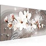 Wandbilder Blumen Magnolien 1 Teilig Modern Vlies Leinwand Wohnzimmer Flur Abstrakt Beige Braun 006212a