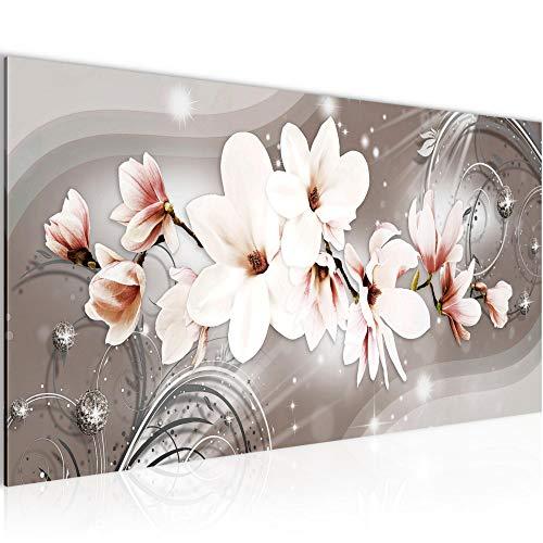Wandbilder Blumen Magnolien Modern Vlies Leinwand Wohnzimmer Flur Abstrakt Beige Braun 006212a
