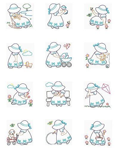 Jack Dempsey Stamped White Nursery Quilt Blocks, 9-Inch by 9-Inch, Sunbonnet Sue, 12-Pack