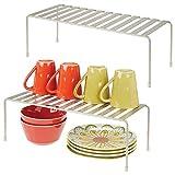mDesign Juego de 2 estantes de cocina – Soportes para platos independientes de metal –...