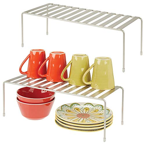 mDesign Modern Metal Storage Shelf Rack - 2 Tier Raised Food and Kitchen Organizer for Cabinets Pantry Shelves Countertops Dishes Plates Bowls Mugs Glasses - 2 Pack - Satin