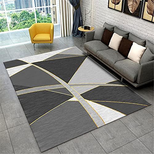 WCCCW Negro Gris Abstracto patrón geométrico Punto de Costura Moderno poliéster Fibra Dormitorio Interior Sala de Estar sofá Decorativo alfombra-130x190cm Suave Moderna Alfombra Antideslizante Alfomb