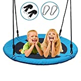 Dooke 700 lb Saucer Tree Swing for Kids 40 Inch 900D Oxford with Waterproof Frame and 2 Hanging Straps (Blue)