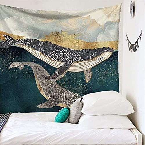 RENYC Tapices Decorativos Tapicería Estrellada Tapiz para la decoración del hogar, Color Mountain Wall Colgando Manteles de tapicería, Azul Verde Impreso Moon Tapices Cubierta de Cama