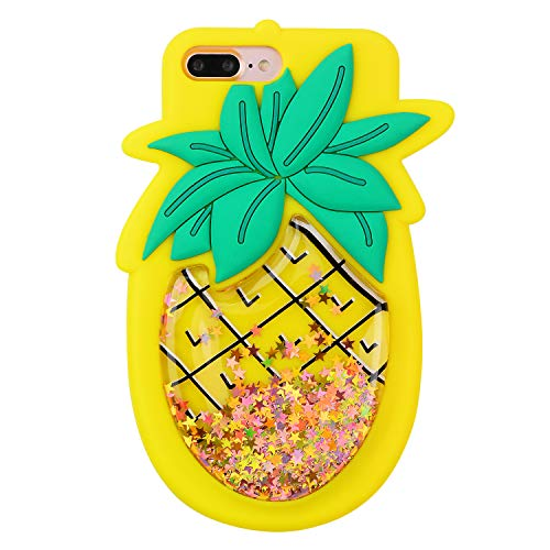Quicksand Pineapple Case for iPhone 8 Plus/7 Plus,Soft Cute Silicone 3D Cartoon Fruit Food Cover,Shockproof Vivid Color Kids Girls Boys Bling Glitter Rubber Kawaii Character Cases for iPhone 87Plus +