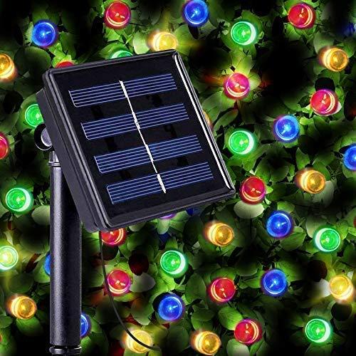 100 Mehrfarbigen LED Solar Lichterkette Aussen - Solarlampen für Außen mit Eingebaut Nacht Sensor, Kette und Erdspieß von SPV Lights (mit 2 Jahre Gewährleistung)