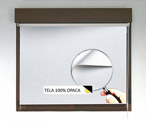 Estor Enrollable Opaco Premium (Desde 40 hasta 300cm de Ancho, no Permite Entrada de luz ni Ver el Exterior). Color Blanco. Medida 110cm x 200cm para Ventanas y Puertas