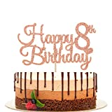 Happy 8th Birthday Cake Topper, Cheers to 8 Years, Hello 8, 8th Birthday/Anniversary Party Decorations Rose Gold Glitter.