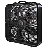 Comfort Zone CZ200ABK 20' 3-Speed Box Fan for Full-Force Air Circulation with Air Conditioner, Black