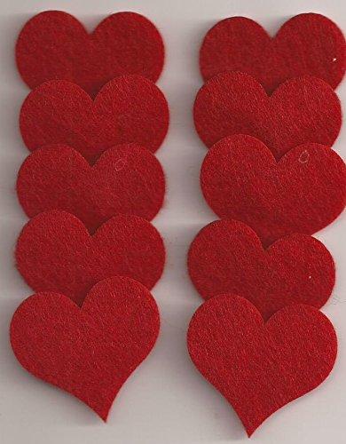 GLOREX Filz-Herz, Fliz, Rot, 4 cm, 10 Stück