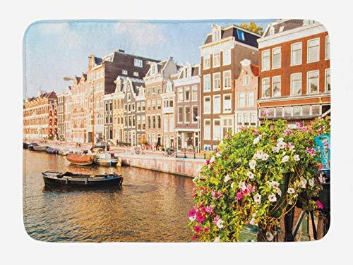 ABAKUHAUS Città Vecchie Case Tappetino da Bagno, Amsterdam Sera, Vasca Doccia WC Tappeto in Peluche con Supporto Antiscivolo, 45 cm x 75 cm, Multicolore