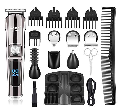 Kemei Hair Clippers Beard Trimmer Mens grooming kit with Trimmer for Beard, Head, Body, and Face Cordless Waterproof 16 In 1