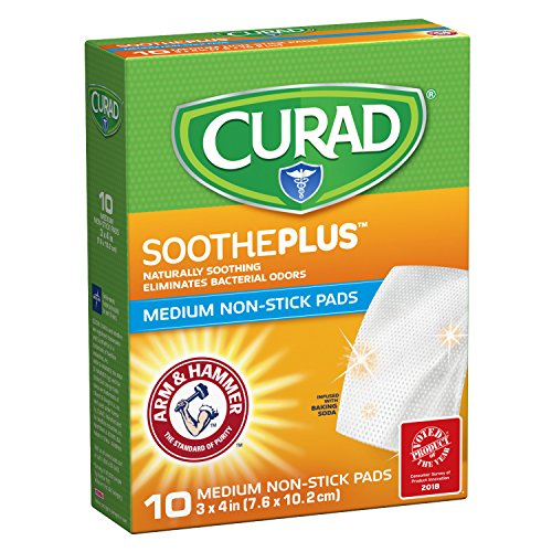 CURAD SoothePLUS Non-Stick Pads with ARM & HAMMER Baking Soda, 3' x 4', 10 count