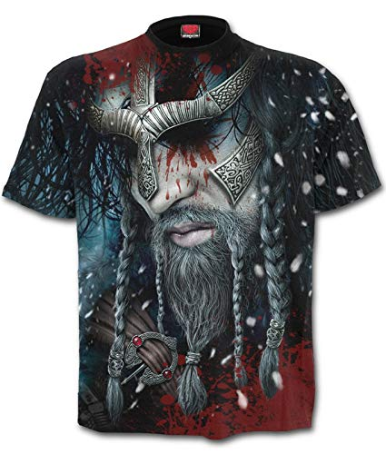 Guerrero vikingo y cráneo en la espalda
