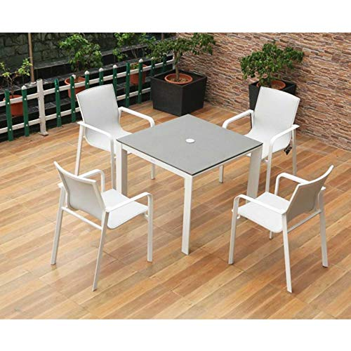 Harrier Luxury Outdoor Dining Set - White & Grey Outdoor Furniture | 3 Size Options - 4/8 Seater | Durable Aluminium Garden Furniture Sets | No Assembly Required (Medium Table (160x90cm) - 4x Chairs)