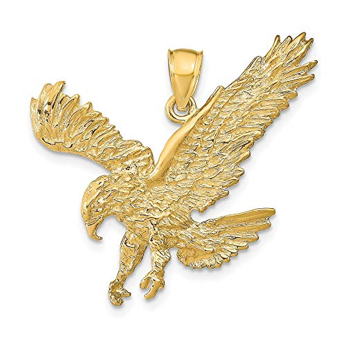 14k Yellow Gold Textured Eagle Landing Pendant Charm Necklace Bird Fine Jewellery For Women Gifts For Her