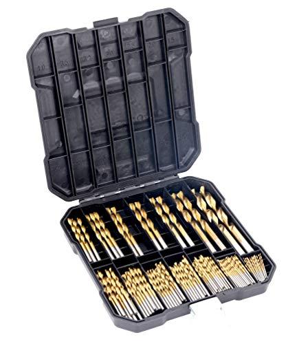99 Stück Titan Bohrer-Set, Hochgeschwindigkeitsstahl, für Holz, Metall, Aluminiumlegierung, metrische Größe